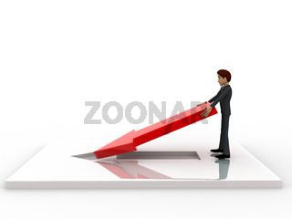3d man placing and fixing red arrow on  floor concept