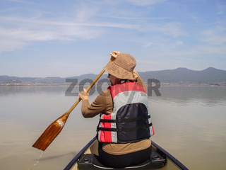 Canoeing on Lake Patzcuaro