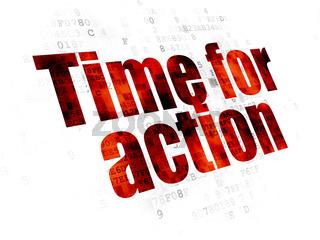 Timeline concept: Time for Action on Digital background