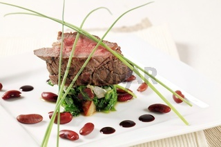 Roast beef and spinach