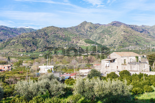 Outskirts of town Gaggi in spring day, Sicily