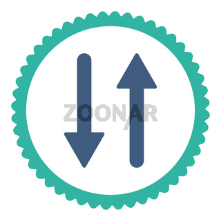 Arrows Exchange Vertical flat cobalt and cyan colors round stamp icon