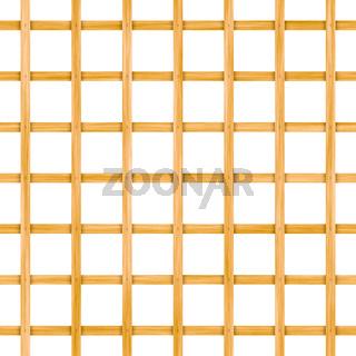 Seamless wooden lattice isolated on white