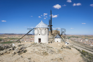 cereal mills mythical Castile in Spain, Don Quixote, Castilian landscape with very old architecture