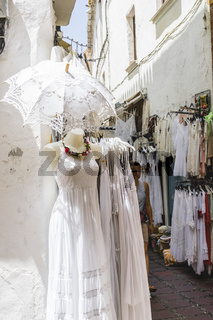 traditional Andalusian street clothing stores in Marbella, Andalucia Spain