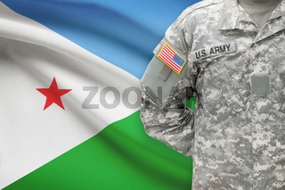 American soldier with flag on background - Djibouti