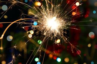 sparkler burning on festive background