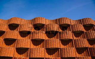Planter blocks as retaining wall.