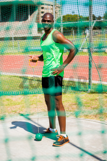 Portrait of athlete holding hammer throw
