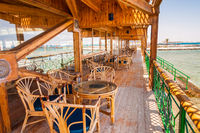 Outdoor restaurant with beautiful sea view