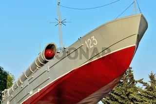 Torpedo-Boot, ein Denkmal der baltischen Seeleute. Kaliningrad, Russland