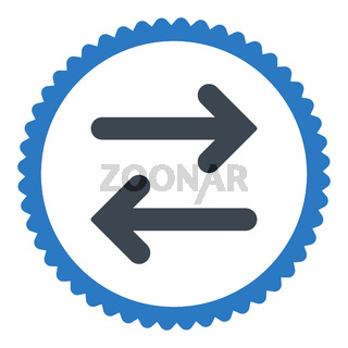 Flip Horizontal flat smooth blue colors round stamp icon