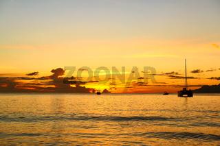 Beautiful sunset at Seychelles beach