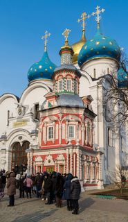 Sergiev Posad, Russia - March 28, 2015. The great Trinity monastery in Sergiyev Posad near Moscow. Golden Ring of a Russia