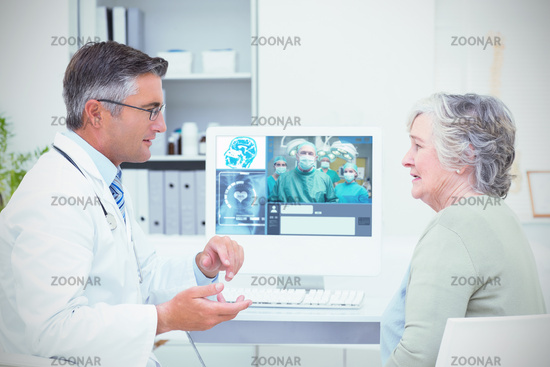 Composite image of smiling surgeon posing with a team