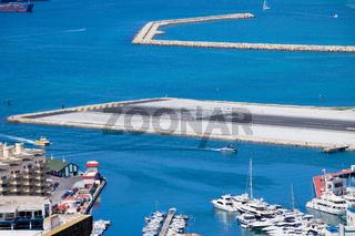 Gibraltar Bay and Airport Runway