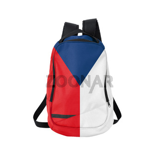 Czech Republic flag backpack isolated on white