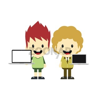 adorable boy with laptop cartoon character