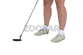 Golf player taking a shot