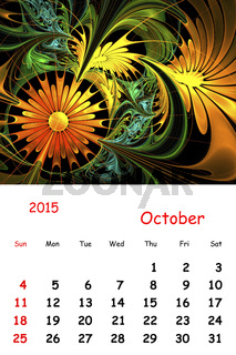 2015. October. Calendar with beautiful fractal pattern.