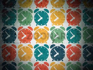 Timeline concept: Alarm Clock icons on Digital Paper background