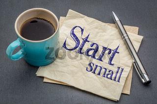 start small advice on napkin