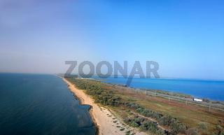 bird#39;s-eye panorama road to Crimea to Kerch Strait