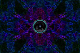 Music speaker on a kaleidoscope background
