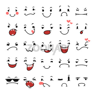 Doodle Facial Expressions Set For Humor Design