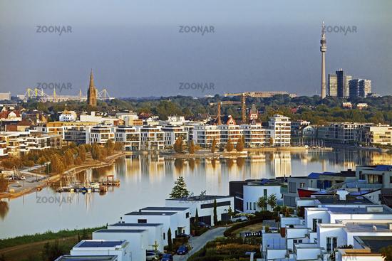 Phoenix lake, in the back Signal Iduna Park, BVB stadium and Florian Tower, Dortmund, Germany Europe