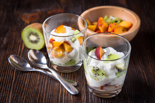 Healthy fruit salad with yoghurt
