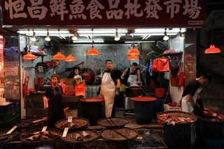 Hong Kong, China, Fischverkaeufer in Mong Kok