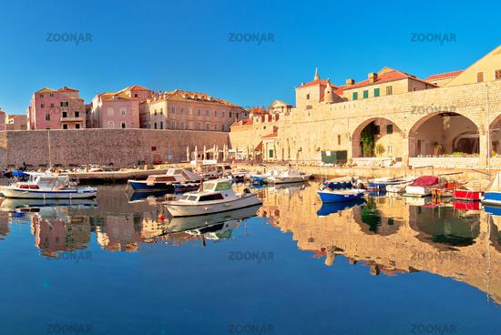 Dubrovnik harbor and city walls morning panoramic view