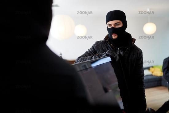 Zwei Einbrecher stehlen Fernseher aus Haus