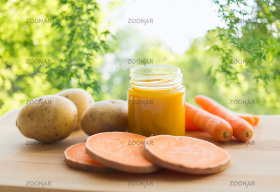 vegetable puree or baby food in glass jar