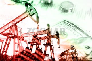 Oil and gas industry, business and financial background. Mining, oil refinery industry and stock market concept.