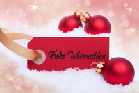 Red Christmas Ball, Snow, Label, Frohe Weihnachten Mean Merry Christmas, Bokeh
