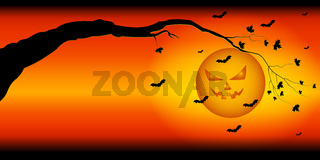 Silhouette of tree branches against the backdrop of ominous sky Halloween