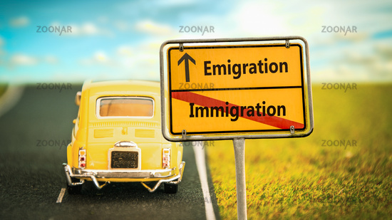 Street Sign Emigration versus Immigration