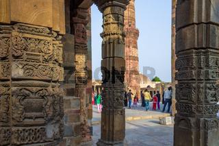 Antic Ruins of Jain Temple inside the Qutb Minar Complex. UNESCO World Heritage in Mehrauli, Delhi, India, Asia.