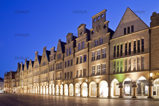 historic principal marketplace in the evening, Muenster, North Rhine-Westphalia, Germany, Europe