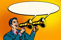 businessman with a megaphone. announcement advertising