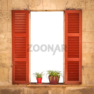 Isolated Open Villa Shutters