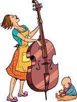 Home rehearsal. Mother with a small child plays the double bass