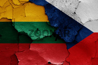 flags of Lithuania and Czech Republic painted on cracked wall