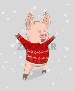 Vector illustration, Happy New Year 2019 funny card design with cartoon pig