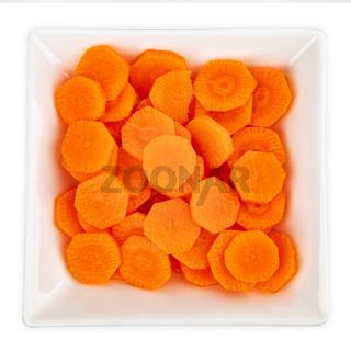 Fresh sliced carrots
