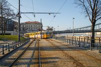 Budapest, Hungary, March 22 2018: Ganz CSMG tram number 19 near Buda Castle in the city of Budapest in Hungary. In operation since 1866, the Budapest tram network is one of world