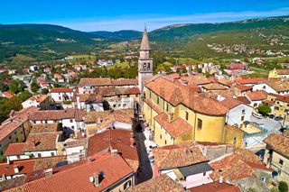 Buzet. Idyllic hill town of Buzet church and architecture aerial view.