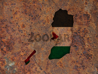 Karte und Fahne von Palästina auf rostigem Metall - Map and flag of Palestine on rusty metal